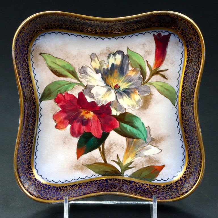 19th Century Doulton Burslem Hand Painted Floral Dessert Set For Sale 1