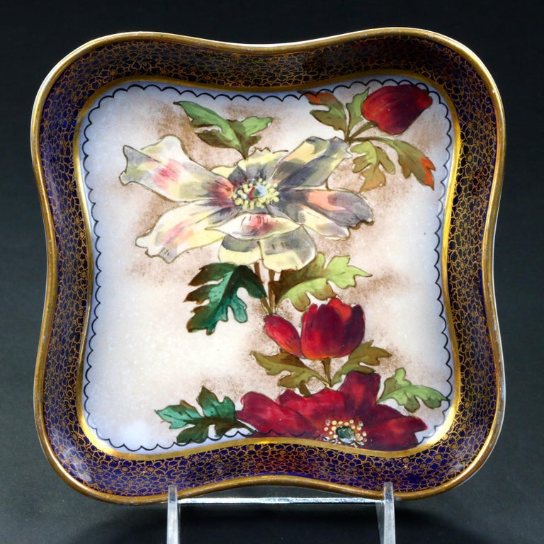 19th Century Doulton Burslem Hand Painted Floral Dessert Set In Good Condition For Sale In New York, NY