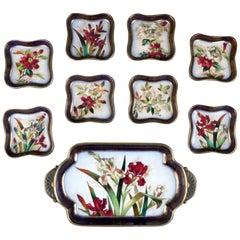 19th Century Doulton Burslem Hand Painted Floral Dessert Set