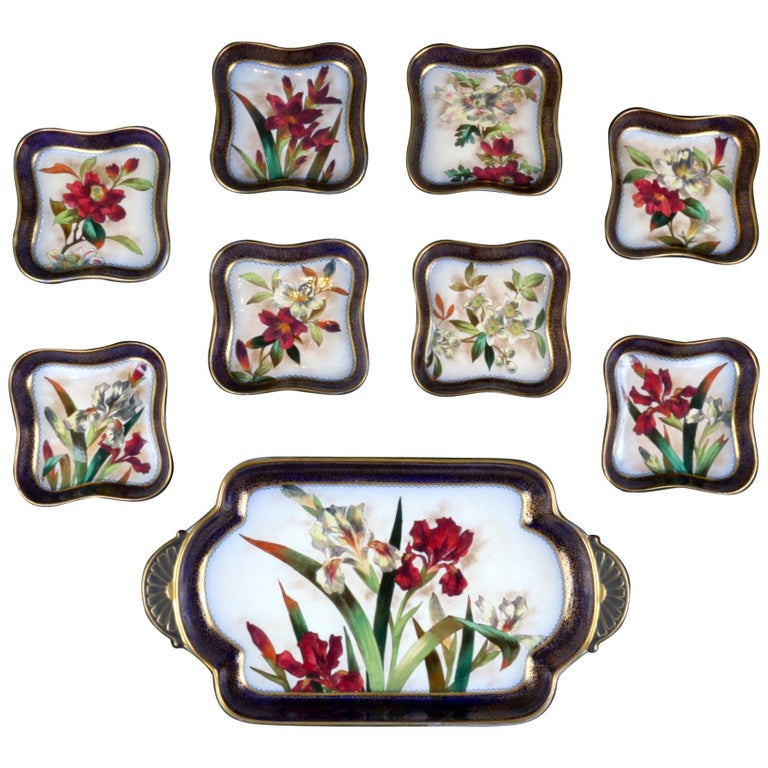 19th Century Doulton Burslem Hand Painted Floral Dessert Set For Sale
