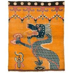 19th Century Dragon Rug from Tibet