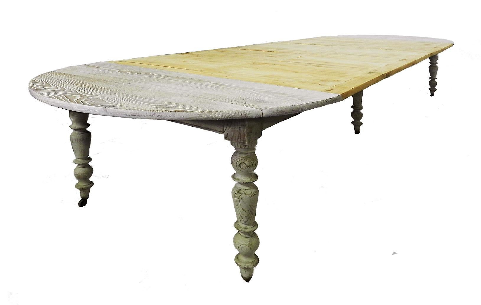 19th century drop leaf extending dining table french limed oak c1850 rh 1stdibs com