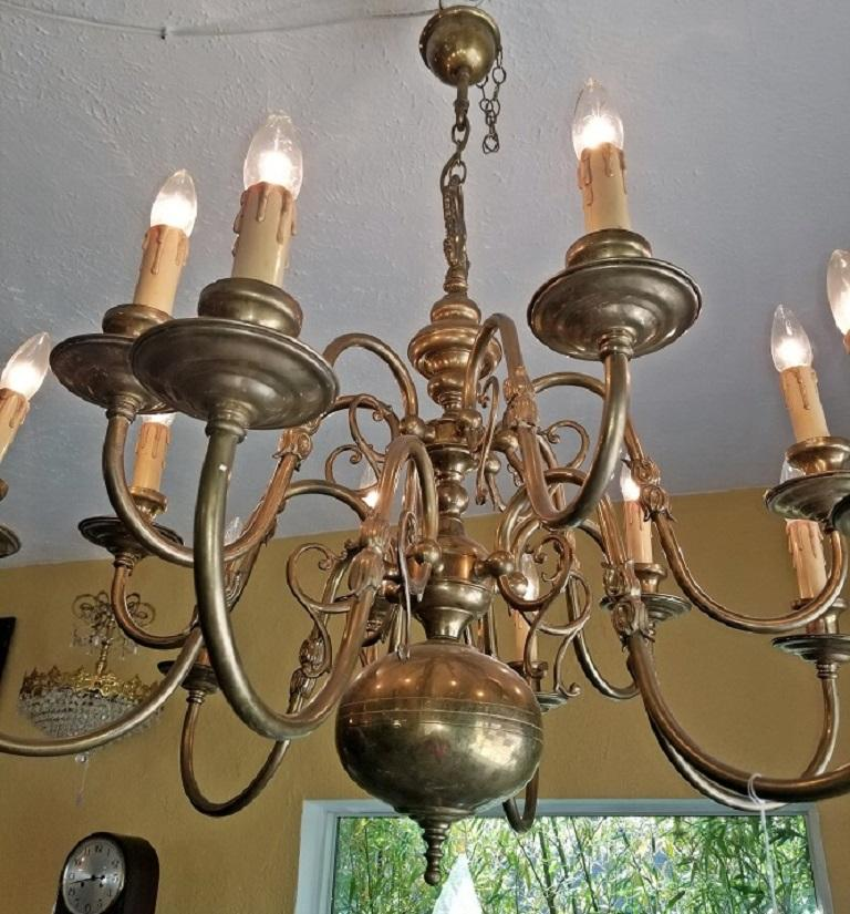 Cast 19th Century Dutch Baroque Brass Two-Tier 12 Branch Chandelier For Sale