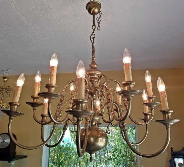 19th Century Dutch Baroque Brass Two-Tier 12 Branch Chandelier In Excellent Condition For Sale In Dallas, TX