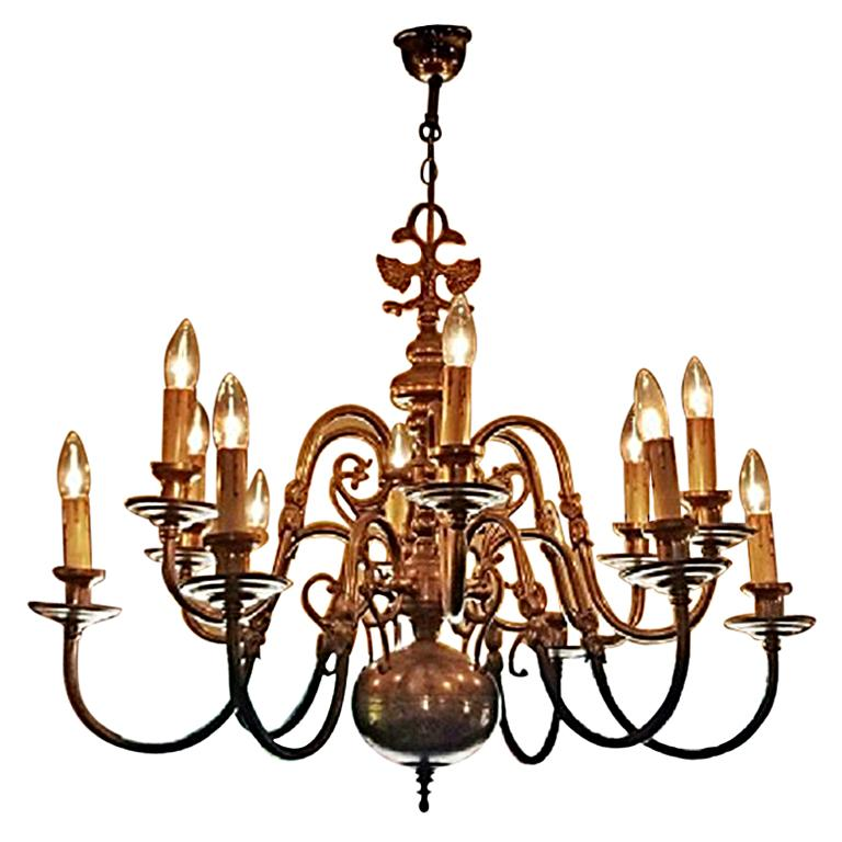 19th Century Dutch Baroque Brass Two-Tier 12 Branch Chandelier For Sale