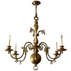19th Century Dutch Baroque Style Brass Six-Light Chandelier