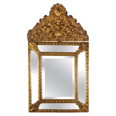19th Century Dutch Baroque Style Repoussé Metal-Framed Mirror
