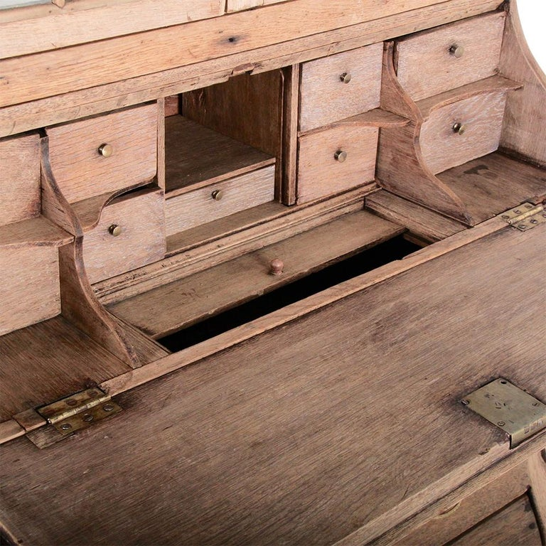 Baroque 19th Century Dutch Bleached Oak Secretary For Sale