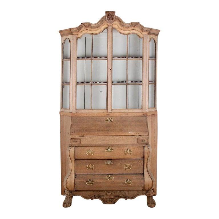 19th Century Dutch Bleached Oak Secretary For Sale
