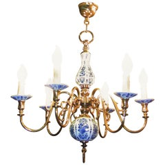 19th Century Dutch Brass with Blue and White Delft Pottery Chandelier