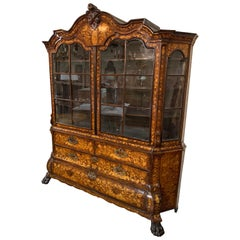 19th Century Dutch Carved Mahogany Display Cabinet with Marquetry Inlay