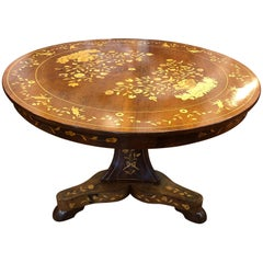 19th Century Dutch Charles X Mahogany Inlay Round Table, 1830s