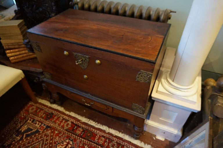19th Century Dutch Colonial Mahogany Chest on Stand with Brass Hardware and Key In Good Condition For Sale In Vancouver, British Columbia