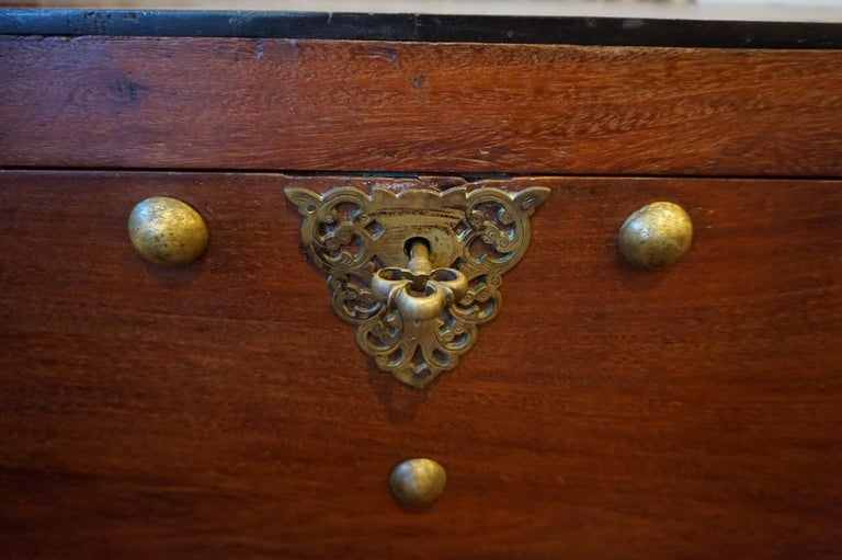 19th Century Dutch Colonial Mahogany Chest on Stand with Brass Hardware and Key For Sale 1