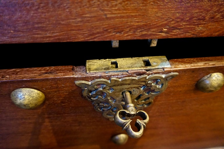 19th Century Dutch Colonial Mahogany Chest on Stand with Brass Hardware and Key For Sale 3