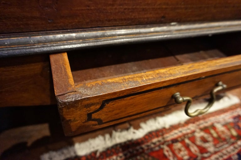 19th Century Dutch Colonial Mahogany Chest on Stand with Brass Hardware and Key For Sale 5