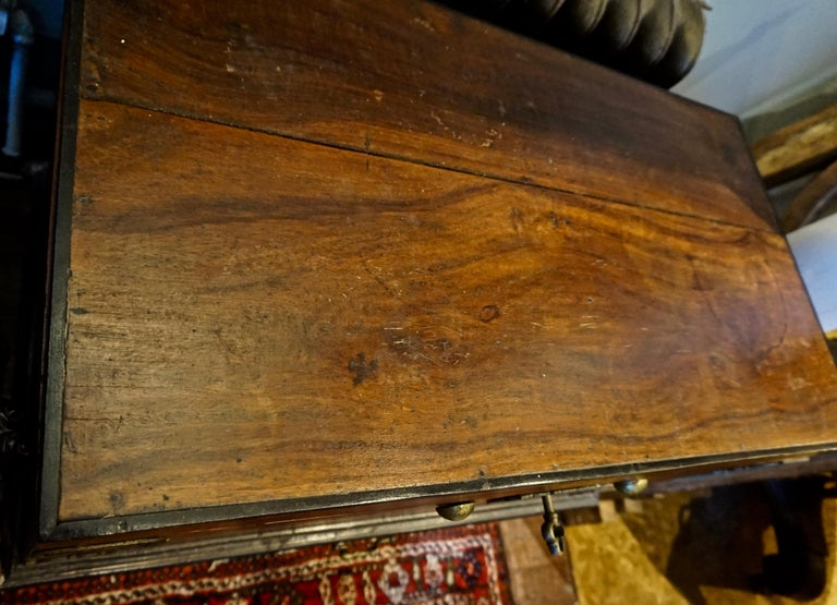 19th Century Dutch Colonial Mahogany Chest on Stand with Brass Hardware and Key For Sale 6
