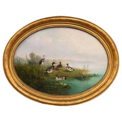 19th Century Dutch Duck Oil Painting in Gilt Frame Signed A. Knip and Dated 1859