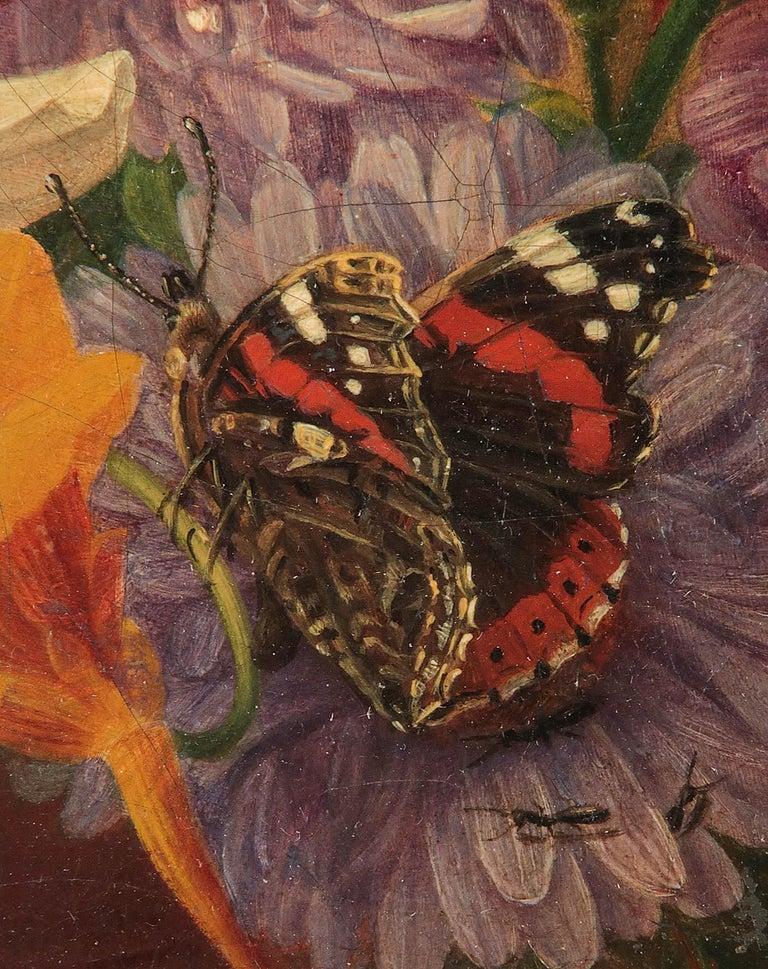 19th Century Dutch Flower Still-Life Oil Painting by A. de Steenbault For Sale 5