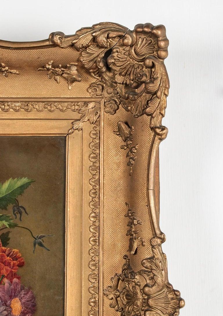 19th Century Dutch Flower Still-Life Oil Painting by A. de Steenbault For Sale 7