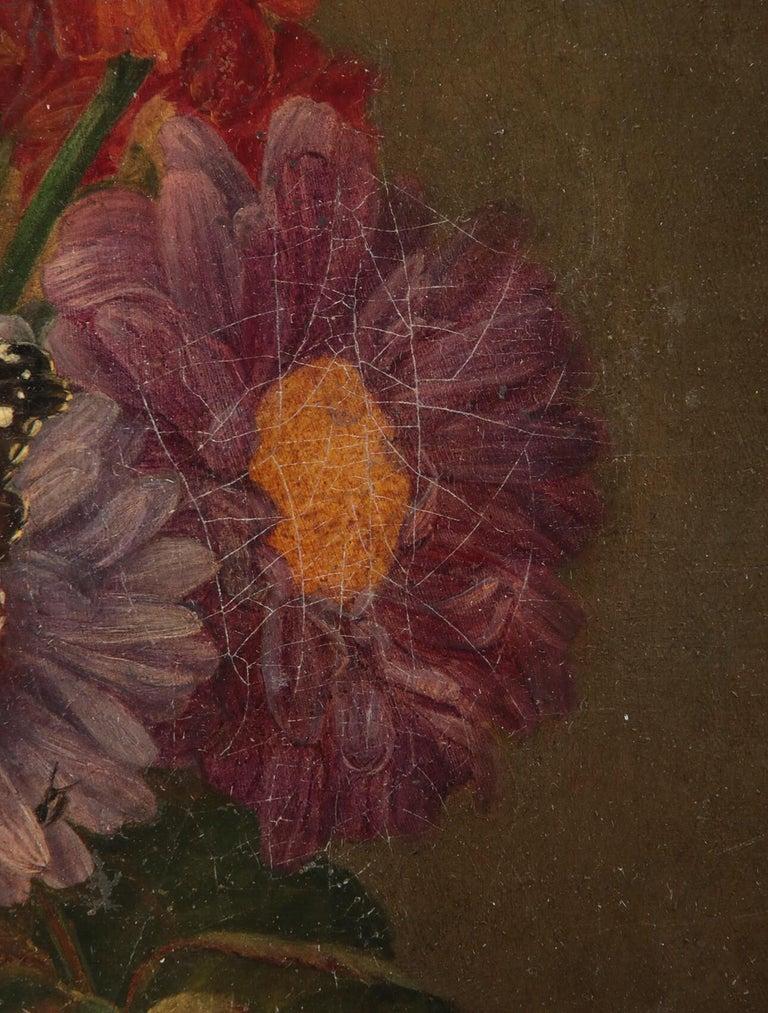 19th Century Dutch Flower Still-Life Oil Painting by A. de Steenbault For Sale 9