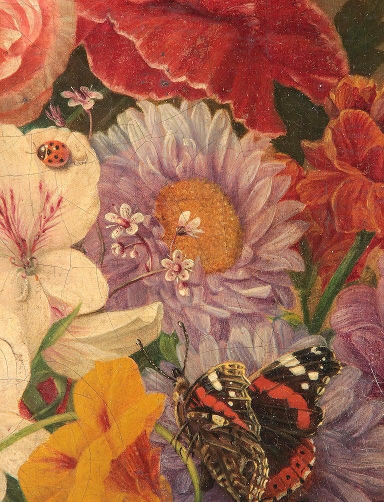 19th Century Dutch Flower Still-Life Oil Painting by A. de Steenbault For Sale 10