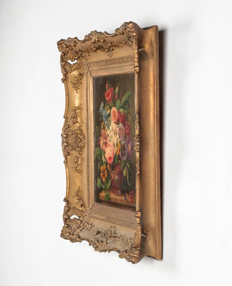 19th Century Dutch Flower Still-Life Oil Painting by A. de Steenbault For Sale 12