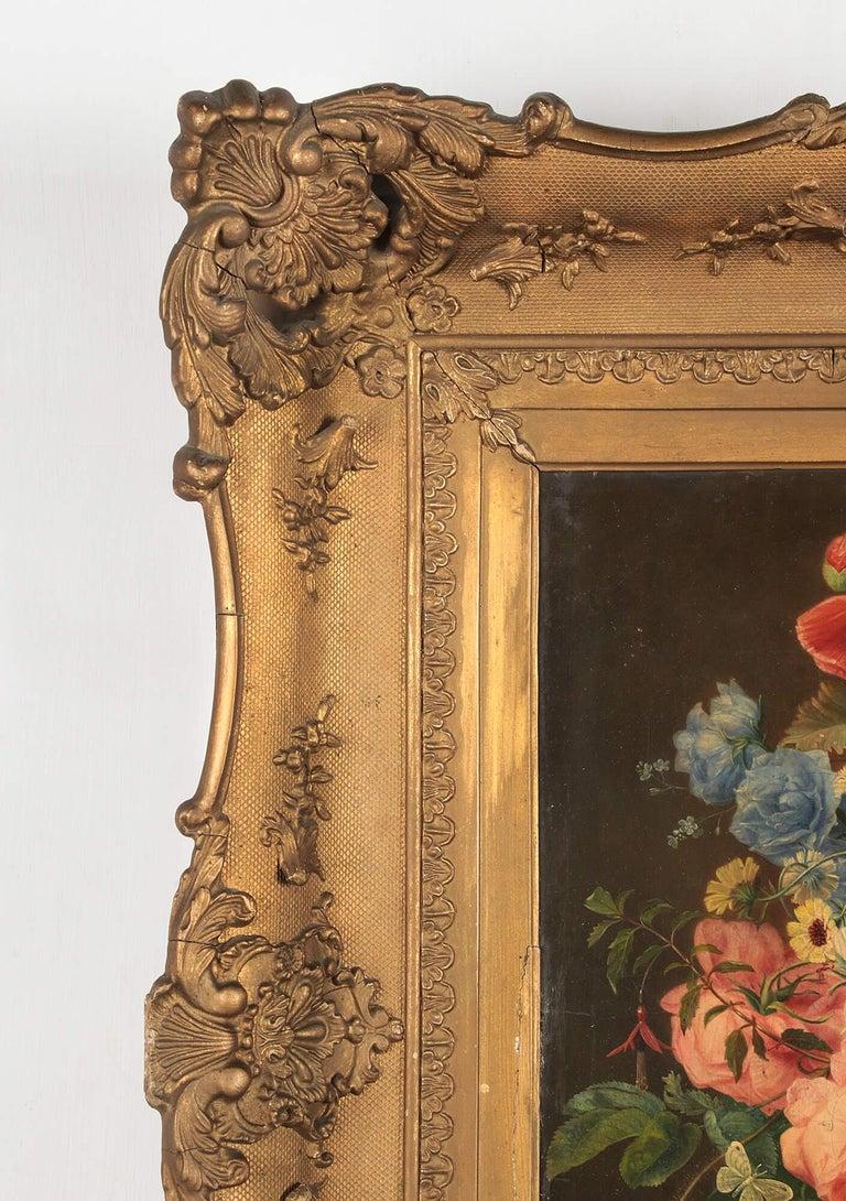 19th Century Dutch Flower Still-Life Oil Painting by A. de Steenbault For Sale 13