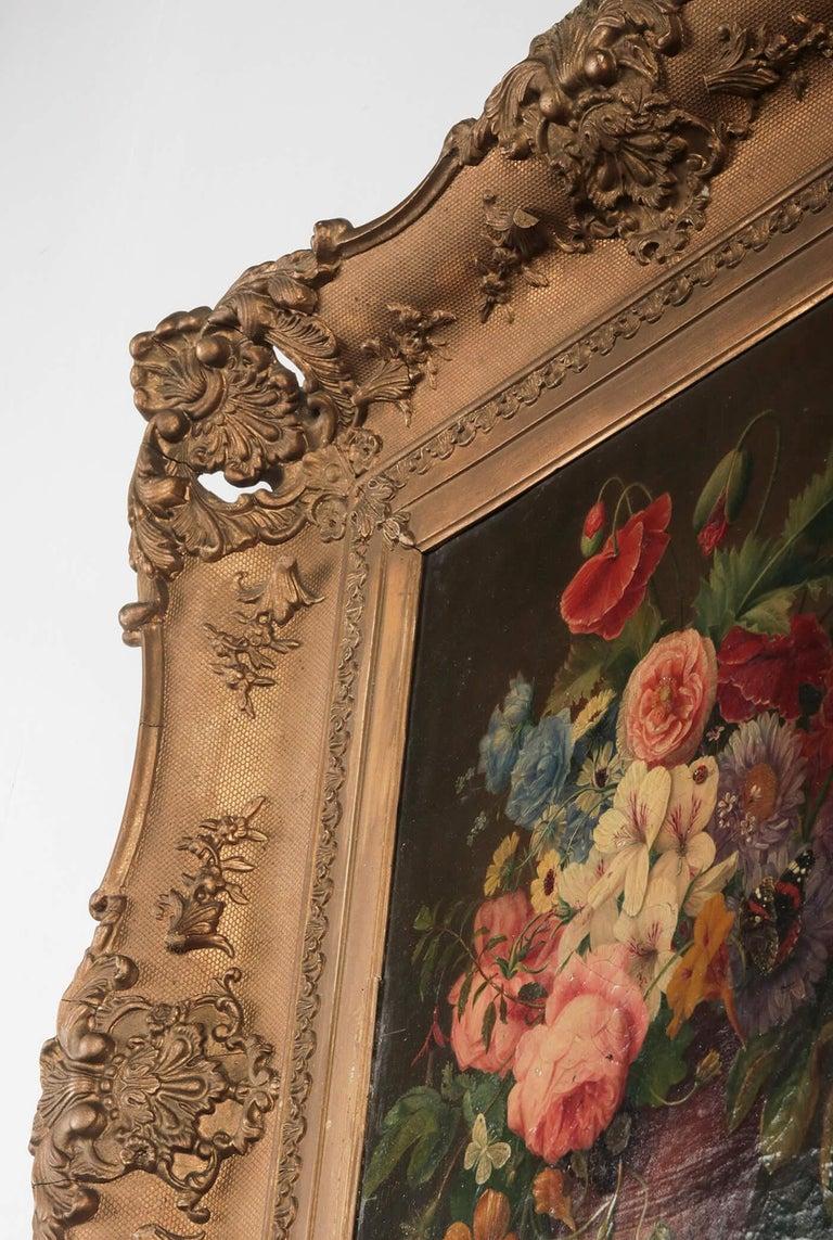 19th Century Dutch Flower Still-Life Oil Painting by A. de Steenbault For Sale 14
