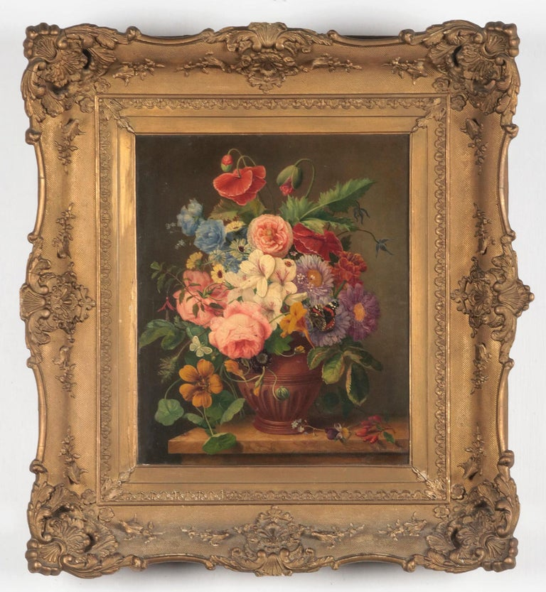 Beautiful painting from the mid-19th century. This beautiful flower still life has beautiful details. Countless flower types are depicted in this painting, showing the artist his knowledge and skills. You can also see many different insect species