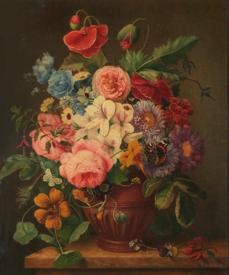Renaissance 19th Century Dutch Flower Still-Life Oil Painting by A. de Steenbault For Sale
