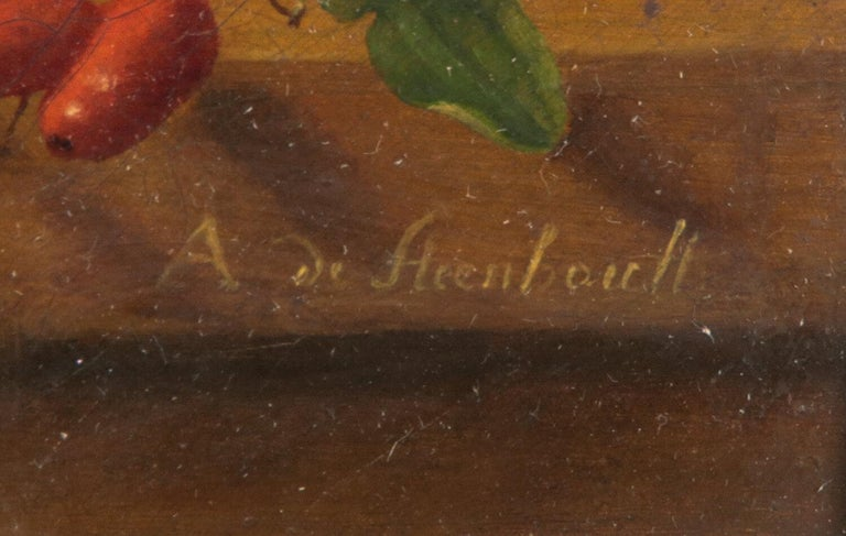 Hand-Painted 19th Century Dutch Flower Still-Life Oil Painting by A. de Steenbault For Sale