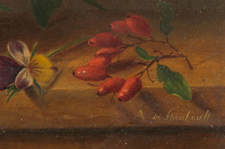 19th Century Dutch Flower Still-Life Oil Painting by A. de Steenbault In Good Condition For Sale In Casteren, Noord-Brabant