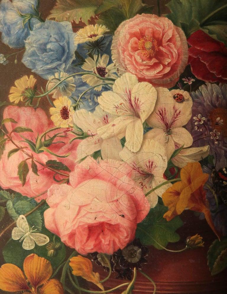 19th Century Dutch Flower Still-Life Oil Painting by A. de Steenbault For Sale 1