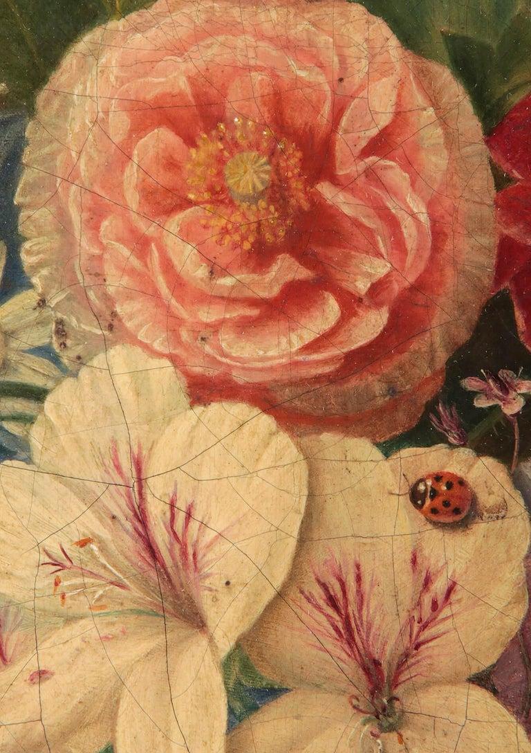 19th Century Dutch Flower Still-Life Oil Painting by A. de Steenbault For Sale 2