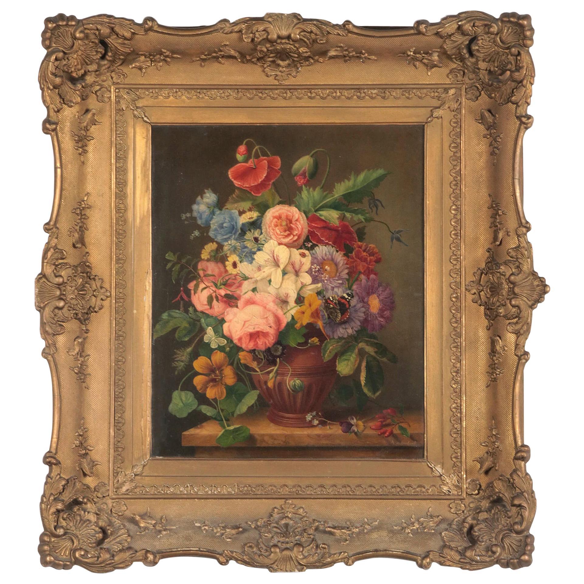 19th Century Dutch Renaissance Flower Still-Life Oil Painting - A. de Steenbault