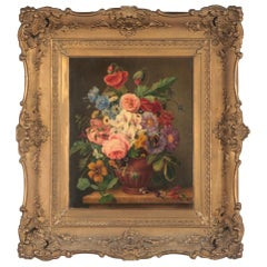 19th Century Dutch Renaissance Flower Still-Life Oil Painting - A. de Steenbault