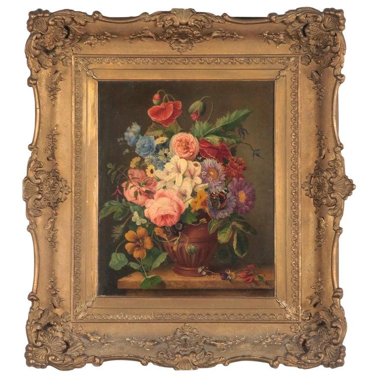 19th Century Dutch Flower Still-Life Oil Painting by A. de Steenbault For Sale