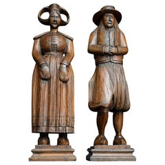 19th Century Dutch Folk Art Pair of Hand Carved Figures