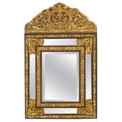 19th Century Dutch Gilt Metal and Ebony Double Framed Mirror