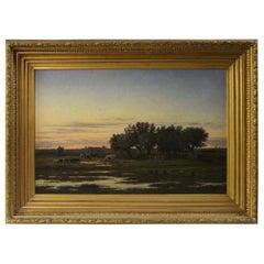 19th Century Dutch Bucolic Landscape by Jan Nicholaus Lockhorst
