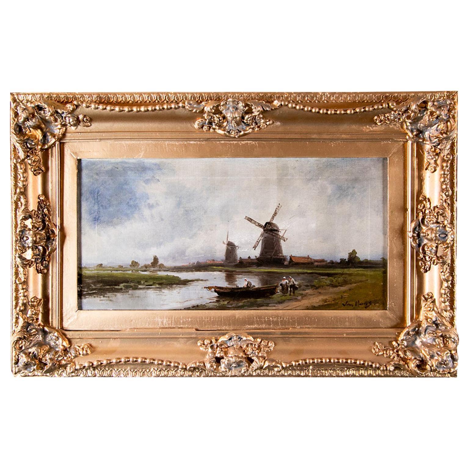 19th Century Dutch Landscape Scene Oil Painting