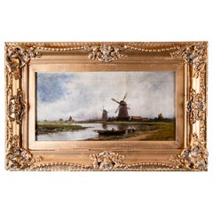 19th Century Dutch Landscape Scene Oil Painting