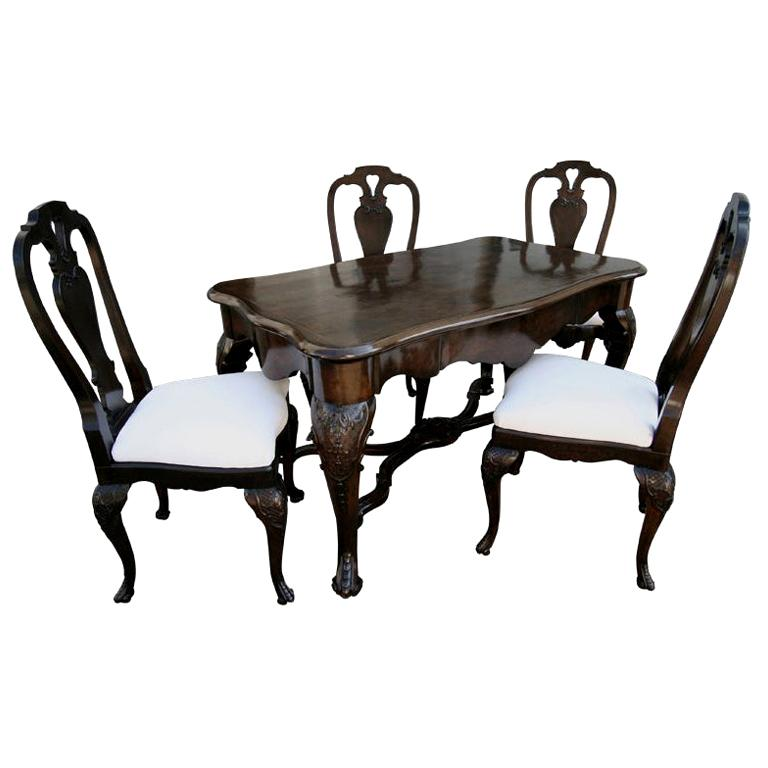 19th Century Dutch Library Table Desk and Four Chairs