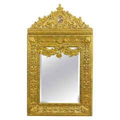 19th Century Dutch Louis XIV Baroque Style Brass Repoussé Wall Mirror