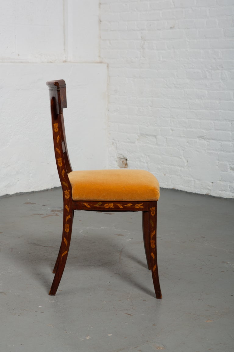 19th Century Dutch Marquetry Side Chair In Good Condition For Sale In New York, NY