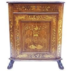 19th Century Dutch Marquetry Small Corner Cupboard
