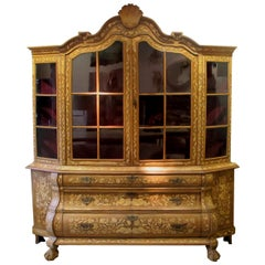 19th Century Dutch Marquetry Vitrine with Burl Walnut and Floral Marquetry
