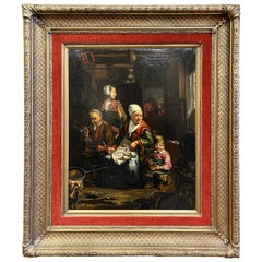 19th Century Dutch Oil on Canvas Painting in Carved Gilt Frame after D. Teniers