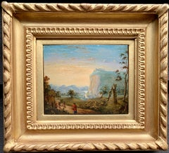 Early 19th century Dutch or Flemish River Landscape, figure crossing a bridge